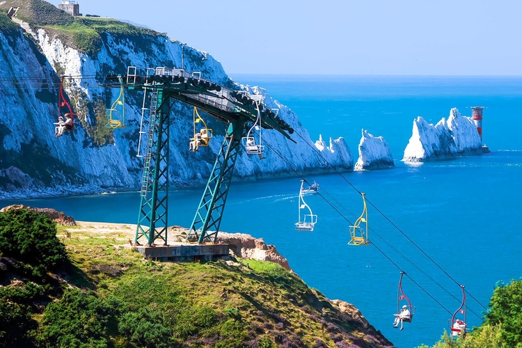 Telesilla en The Needles, isla de Wight, Hampshire, Inglaterra
